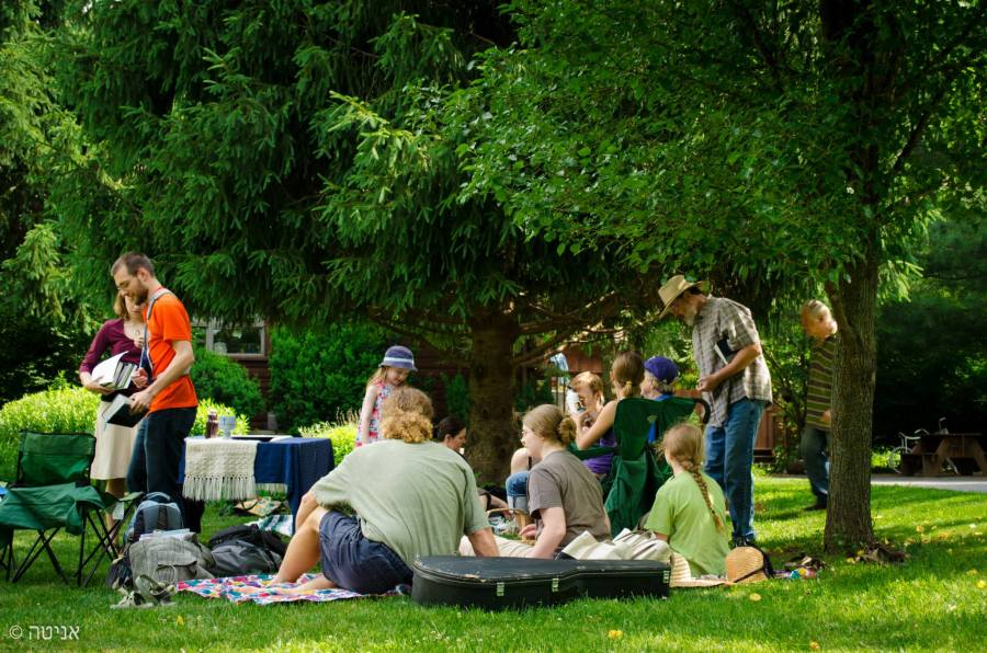 People gathered on a green summer day for a picnic some are on the ground on the blanket while others stand about greeting others and preparing things